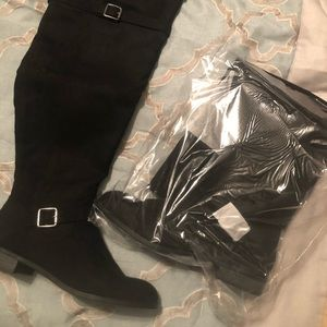 Wide calf knee high black suede boots